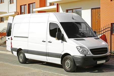 White van parked on street