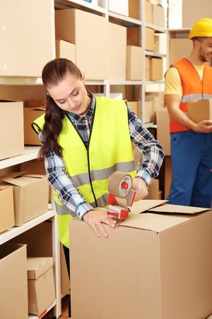 Business people working at warehouse Stock Photo