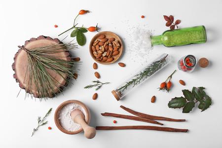 Natural cosmetic ingredients on white background, top view Zdjęcie Seryjne
