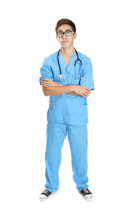 Young handsome doctor on white background Stock Photo