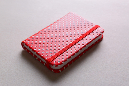 Red notebook on light background