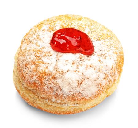 Tasty donut with jam on white background. Hanukkah celebration concept