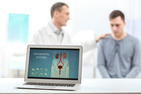 Laptop screen with results of urology diagnostic Stock Photo
