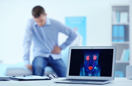 Medical concept. Laptop on doctors desk Stock Photo