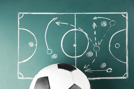 Scheme of football game and ball on green blackboard background Imagens - 108513813