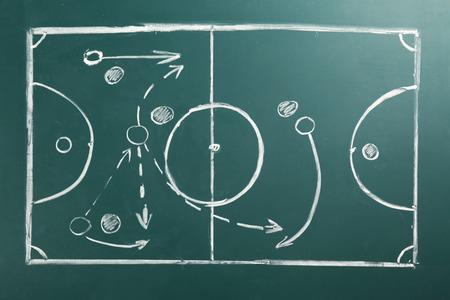 Scheme of football game on green blackboard background Stock Photo