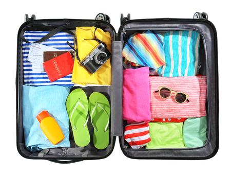 Opened traveler case on white background