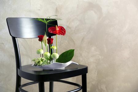 Flower arrangement on a color background Stock Photo