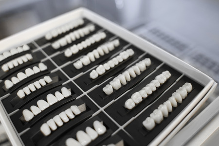 Set of artificial teeth on stand