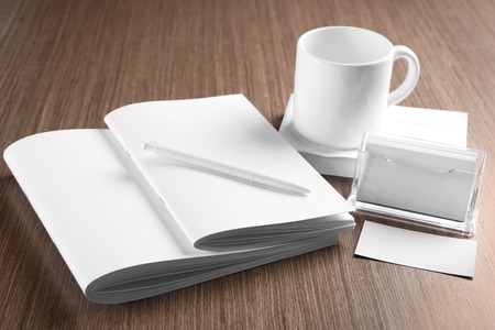 Blank goods on wooden table Stock Photo