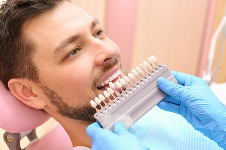 Dentist checking and selecting color of young mans teeth, closeup