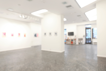 Blurred view of empty art gallery with pictures Banco de Imagens - 108389895