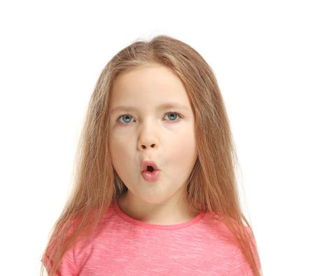 Little girl training pronounce letters    on white background 免版税图像