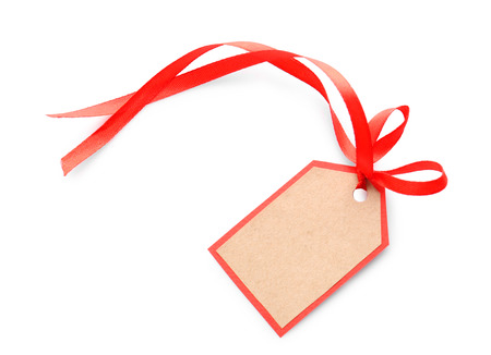Card with ribbon on white background 写真素材