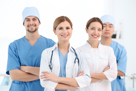 Team of young doctors in modern clinic