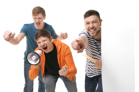 Group of protesting young people on white background Stock fotó