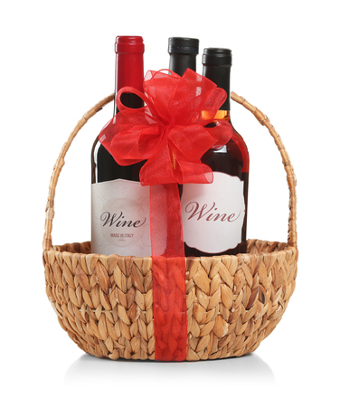 St. Valentines Day concept. Wine bottles in basket isolated on white