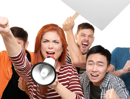 Group of protesting young people on white background Stockfoto