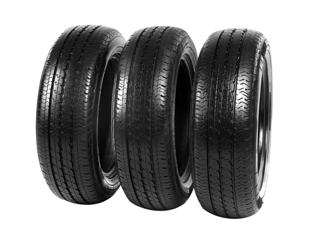 Car tires, isolated on white background Stock Photo