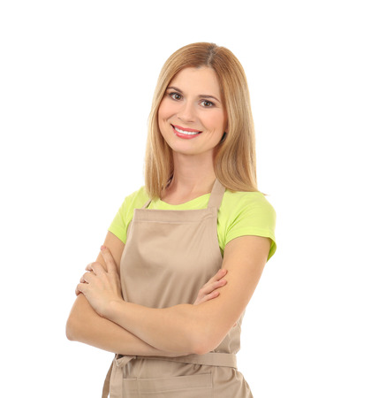 Beautiful woman in beige apron isolated on white background 免版税图像 - 110125765