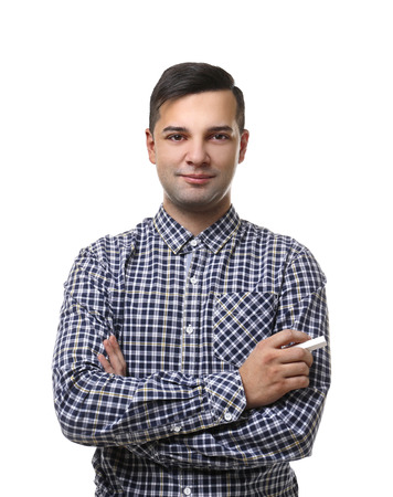Handsome young teacher on white background Фото со стока