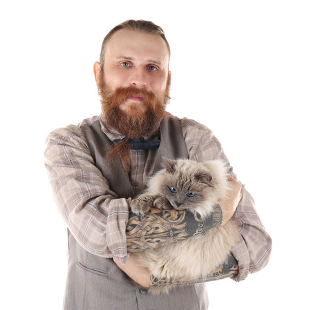 Young bearded man with fluffy cat isolated on white Archivio Fotografico