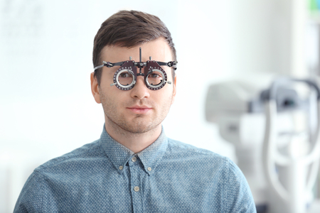 Young man visiting an ophthalmologist