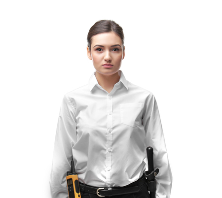 Female security guard on white background Stock Photo