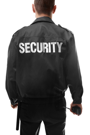 Back of male security guard on white background