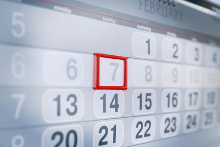 Closeup of calendar page Standard-Bild