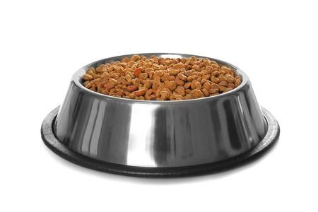 Bowl with dry food for animals on white background Stock Photo