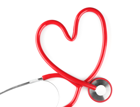Stethoscope in shape of heart isolated on white. Cardiology concept