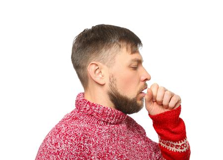 Junger kranker Mann auf weißem Hintergrund Standard-Bild