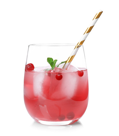 Glass of delicious wine spritzer on white background Stock fotó
