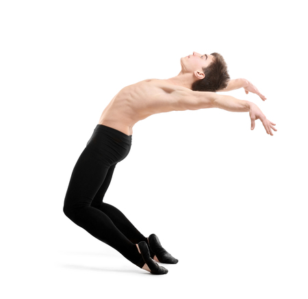 Handsome young ballet dancer on white background Stock Photo
