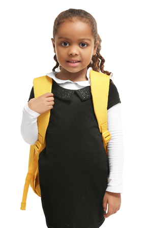 Cute African-American girl on white background 写真素材