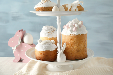 Dessert stand with traditional Russian Easter cakes on table Reklamní fotografie