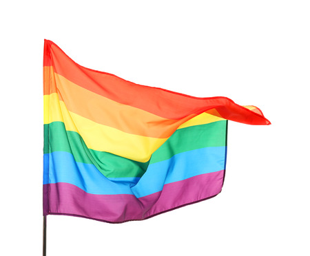 Rainbow gay flag on white background