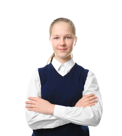 Cute girl in school uniform on white background Stockfoto