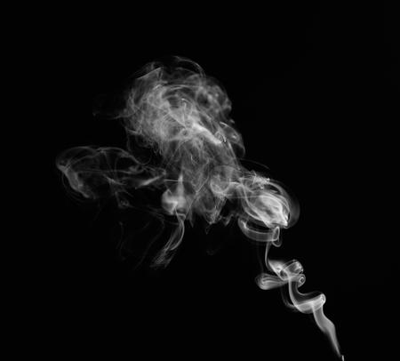 Swirl of white smoke on black background Stockfoto