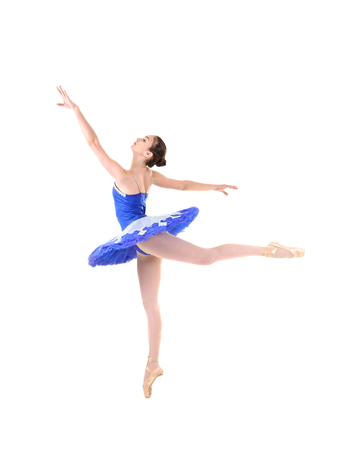 Young beautiful ballerina on white background 版權商用圖片