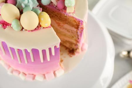Sliced delicious Easter cake, closeup