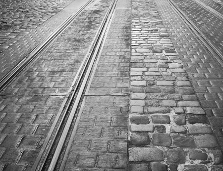 Closeup view of tram rails