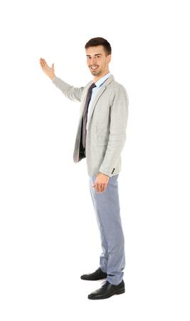 Handsome man in elegant suit on white background 스톡 콘텐츠