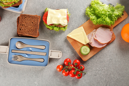 Ingredients for school lunch on table