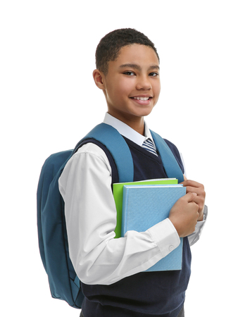 Cute boy with backpack on white background Standard-Bild