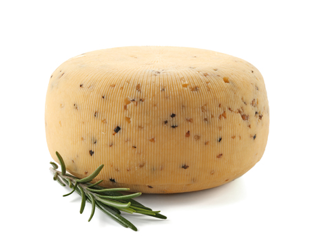 Tasty cheese and rosemary on white background
