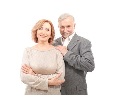 Happy senior couple isolated on white Stockfoto