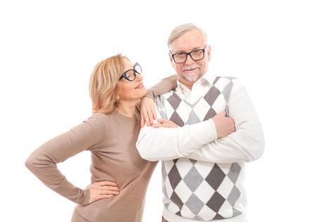 Happy senior couple isolated on white Stock Photo