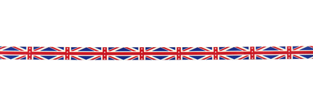 Color ribbon with British flag pattern isolated on white
